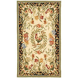 Safavieh Hand-hooked Rooster and Hen Cream/ Black Wool Rug - 2'9' x 4'9' - Thumbnail 0