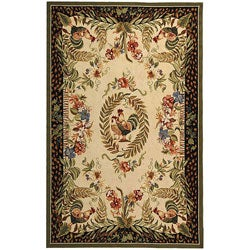 Safavieh Hand-hooked Rooster and Hen Cream/ Black Wool Rug (3'9 x 5'9)