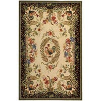 Safavieh Hand-hooked Rooster and Hen Cream/ Black Wool Rug - 3'9 x 5'9