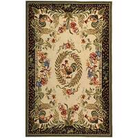 """Safavieh Hand-hooked Rooster and Hen Cream/ Black Wool Rug - 5'3"""" x 8'3"""""""