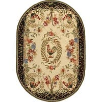 "Safavieh Hand-hooked Rooster Cream/ Black Wool Rug - 4'6"" x 6'6"" Oval"