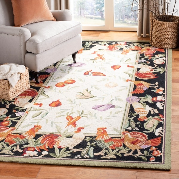 Shop Safavieh Hand-hooked Rooster Garden Ivory/ Black Wool
