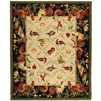 Safavieh Hand-hooked Rooster Garden Ivory/ Black Wool Rug (7'9 x 9'9)