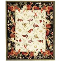 "Safavieh Hand-hooked Rooster Garden Ivory/ Black Wool Rug - 7'-9"" x 9'-9"""