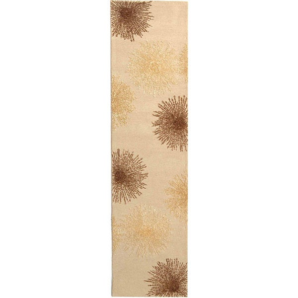 Safavieh Handmade Soho Burst Beige New Zealand Wool Runner (2'6 x 8')