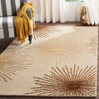 Safavieh Handmade Soho Burst Beige New Zealand Wool Shag Rug - 3'6 X 5'6