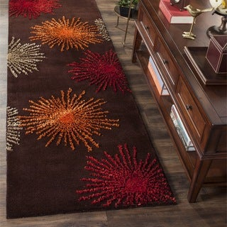 Safavieh Handmade Soho Burst Brown New Zealand Wool Runner (2'6 x 10')