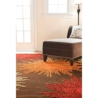Safavieh Handmade Soho Burst Brown New Zealand Wool Rug (3'6 x 5'6) - 3'6 x 5'6