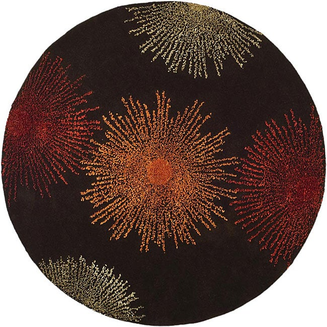 Safavieh Handmade Soho Burst Brown New Zealand Wool Rug (6' Round) - Thumbnail 0
