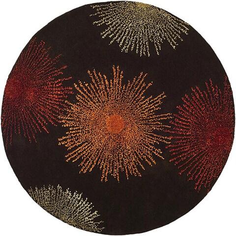 Safavieh Handmade Soho Burst Brown New Zealand Wool Rug - 6' x 6' Round