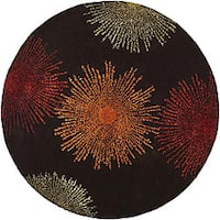 Safavieh Handmade Soho Burst Brown New Zealand Wool Rug - 6' x 6' Round