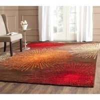 Safavieh Handmade Soho Burst Brown New Zealand Wool Rug - 8'3 x 11'