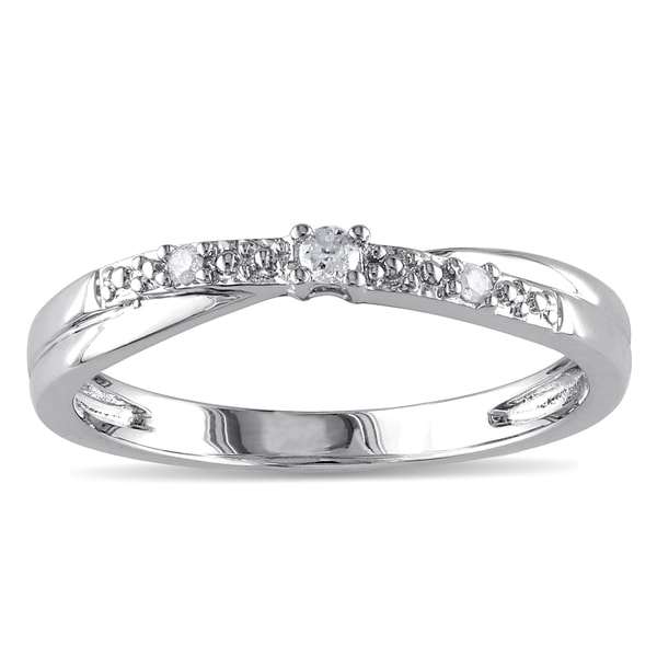 Miadora 10k White Gold Diamond Promise Ring (K-L, I2-I3)