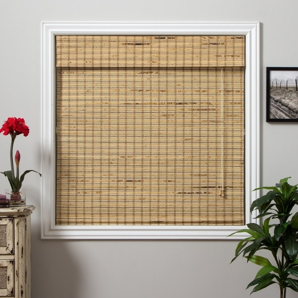 Arlo Blinds Mandalin Bamboo Roman Shade with 98 Inch Height - 64 w x 98 h inches