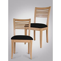 Venetian Natural Side Chairs with Black Seat (Set of 2)