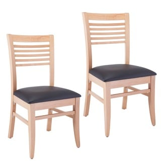 Venetian Natural Dining Chairs with Black Seat (Set of 2)