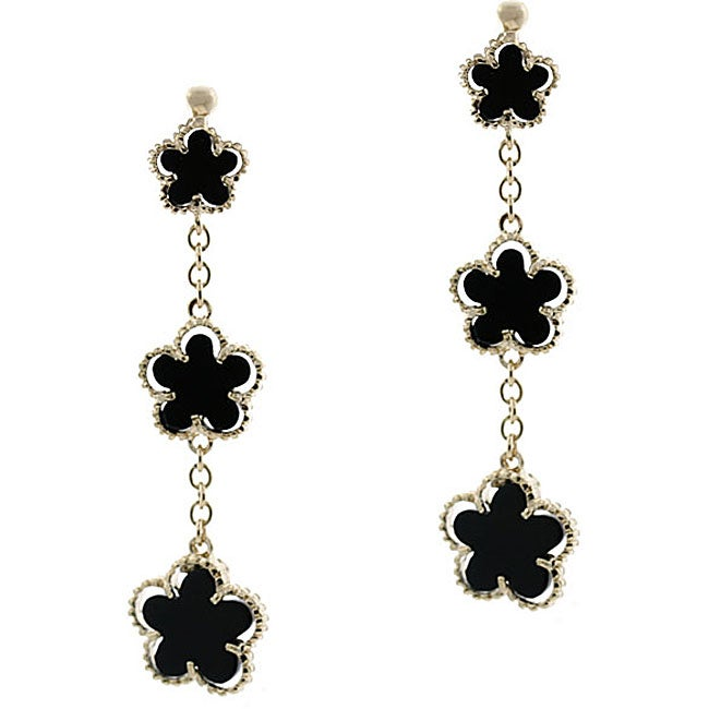 Glitzy Rocks 18k Gold Overlay Onyx 3-flower Dangle Earrings
