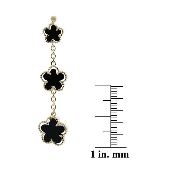 Glitzy Rocks 18k Gold Overlay Onyx 3-flower Dangle Earrings - Thumbnail 1