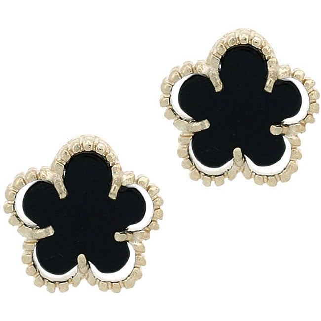 Glitzy Rocks 18k Gold Overlay Onyx Flower Stud Earrings