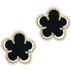 Glitzy Rocks 18k Gold Overlay Onyx Flower Stud Earrings - Thumbnail 0