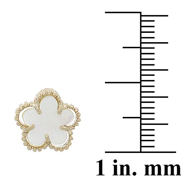 Glitzy Rocks 18k Gold Overlay Mother of Pearl Flower Earrings