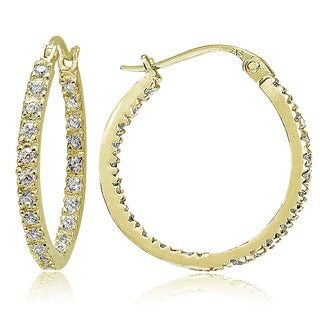 Icz Stonez 18k Gold Sterling Silver CZ Hoop Earrings