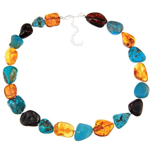 Glitzy Rocks Sterling Silver Turquoise and Amber Necklace