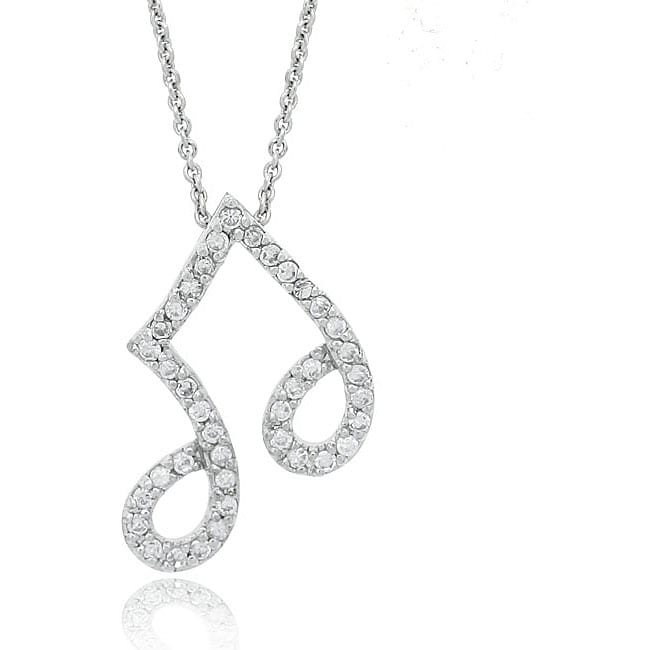 Icz Stonez Sterling Silver CZ Musical Note Slide Necklace
