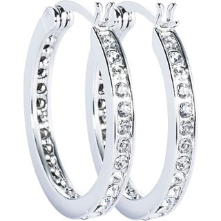 Simon Frank Designs Classic CZ Hoop Earrings Gold Overlay Channel Set - White