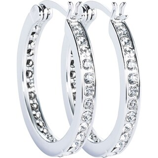 Simon Frank Designs Classic Channel Set CZ Hoop Earrings - White