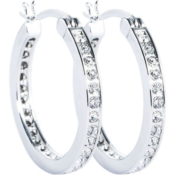 Simon Frank 14k Gold Overlay Channel Set CZ Small Hoop Saddleback Earrings