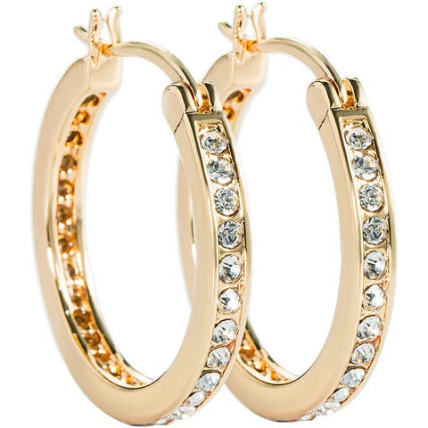 Channel Set Hoop CZ Earrings Silver/Gold Overlay by Simon Frank Designs