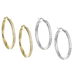 14k Gold Overlay CZ Medium Hoop Earrings