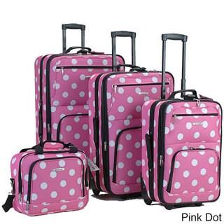 Rockland Polka Dot 4-piece Expandable Luggage Set