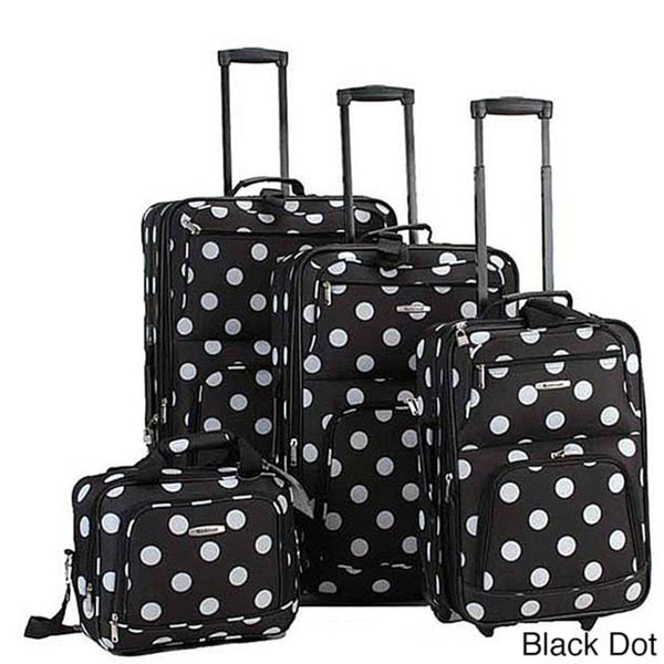 Rockland Polka Dot 4-piece Expandable Luggage Set