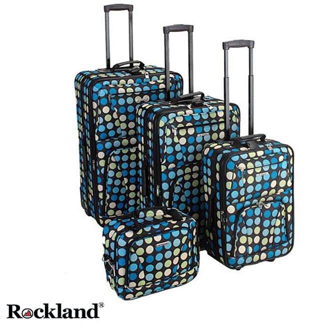 Rockland Multi Blue Dot 4-piece Expandable Luggage Set