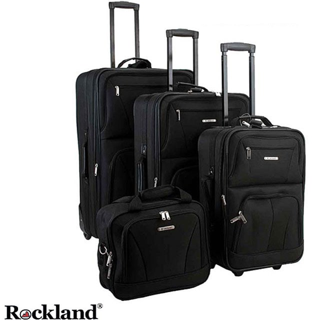 Rockland 4-piece Black Expandable Luggage Set