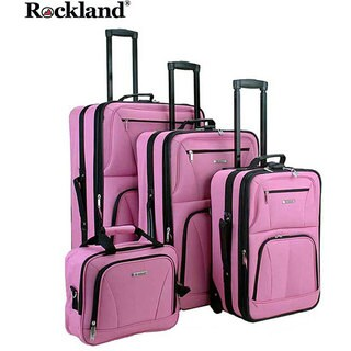 Rockland Deluxe Pink 4-piece Luggage Set