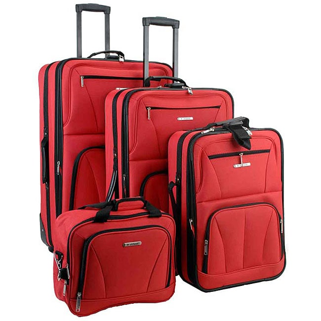 Rockland Red 4-piece Expandable Luggage Set - Thumbnail 0