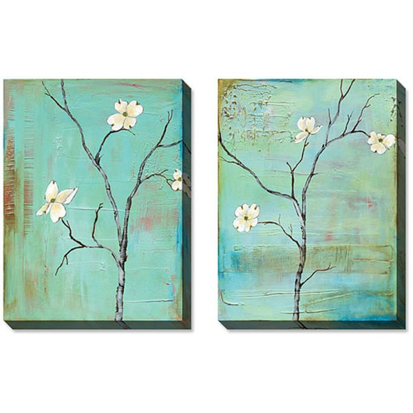 Gallery Direct Gunn Dogwood on Turquoise Gallery Wrapped Art Set