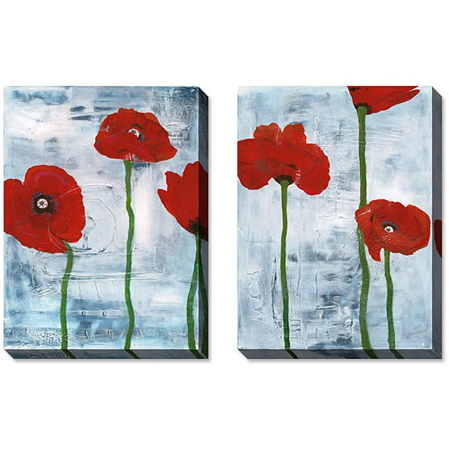 Gallery Direct Gunn Tall Poppies on Blue Gallery-wrapped Art Set