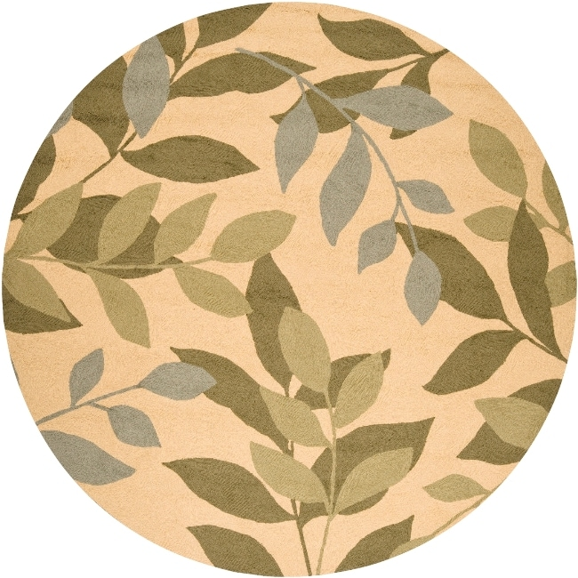 Hand-hooked Tropic Outdoor/ Indoor Rug (8' Round) - Thumbnail 0