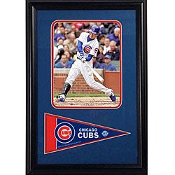 Chicago Cubs Kosuke Fukudome Framed Print with Mini Pennant Flag