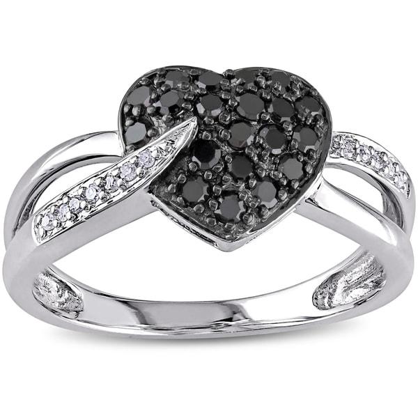 Miadora 10k Gold 1/3ct TDW Black and White Diamond Heart Ring