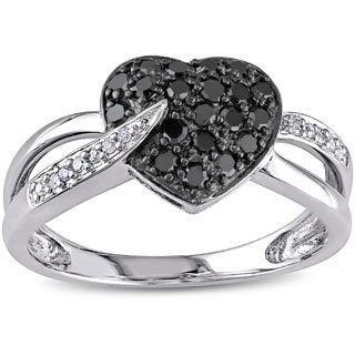 Miadora 10k Gold 1/3ct TDW Black and White Diamond Heart Ring