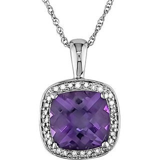 Miadora 10k Gold 1/10ct TDW Diamond and Amethyst Necklace