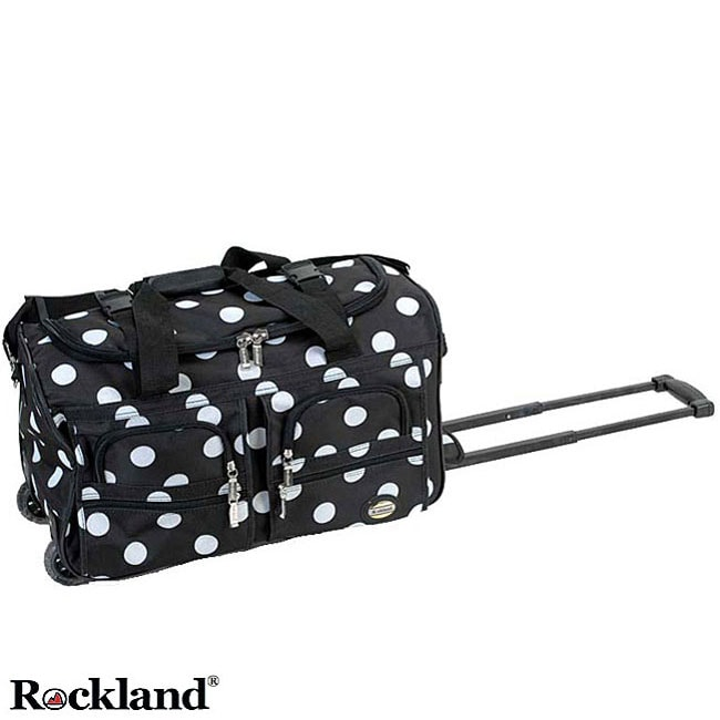 Rockland Black Dot 22-Inch Carry On Rolling Upright Duffel Bag
