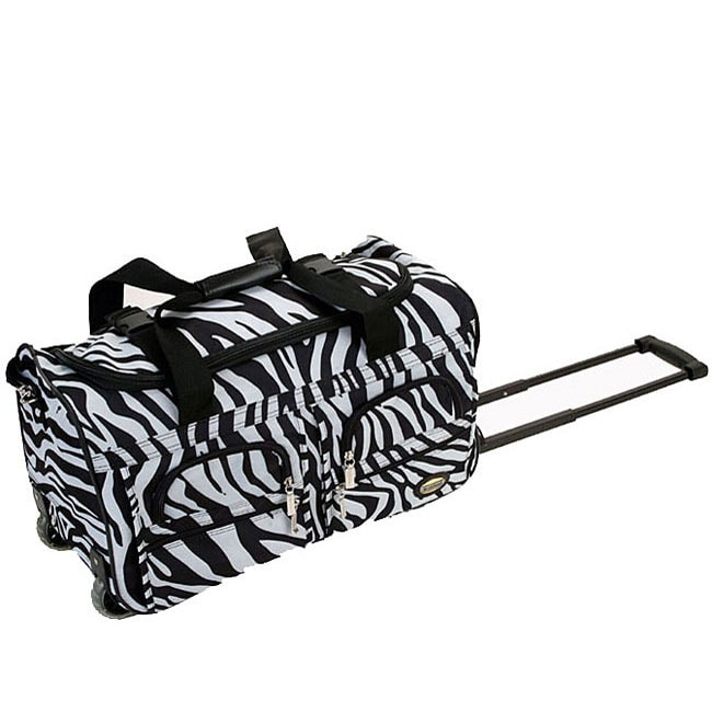 Rockland Deluxe Zebra 22 Inch Carry On Rolling Upright Duffel Bag
