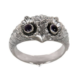 Too Cute Owl Wisdom Eyes of Purple Amethyst Cabochons Set in 925 Sterling Silver Handmade Mens or Womens Ring (Indonesia)