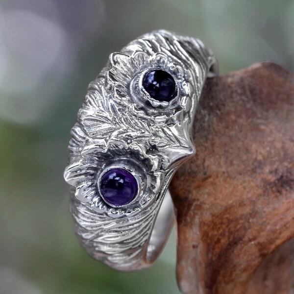 Too Cute Owl Wisdom Eyes of Purple Amethyst Cabochons Set in 925 Sterling Silver Handmade Mens or Womens Ring (Indonesia)